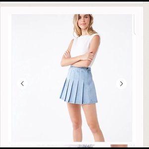 Forever 21 Denim Knife Pleated Mini Skirt Small